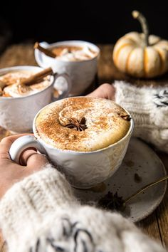 Spiced Pumpkin Maple Latte with hands on mug and 3 mugs in photo Pumpkin Butter, Apple Butter, Pumpkin Spice, Spiced Pumpkin, Mini Desserts, Pumpkin Recipes, Fall Recipes, Roasted Apples, Half Baked Harvest