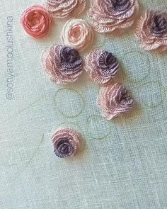 Hand Embroidery Patterns Flowers, Ribbon Embroidery Tutorial, Hand Embroidery Videos, Hand Work Embroidery, Embroidery Flowers Pattern, Creative Embroidery, Simple Embroidery, Embroidery Stitches Tutorial, Learn Embroidery
