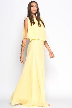 Modagram Japon Stili Gorella Elbise Sarı, Elbise Modelleri