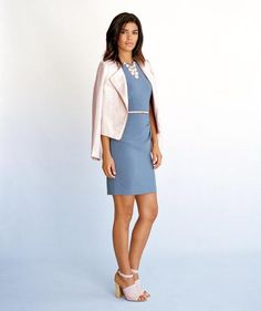 Fall Fashion Trends: Pastel dress, jacket, and shoes.