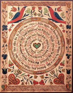 "Johann Adam Eyer, 1755-1837, Pennsylvania. Spiral Religious Text, c. 1780-85, watercolor and ink on paper. 8 5/8x6 7/8"" American Folk Art Museum"
