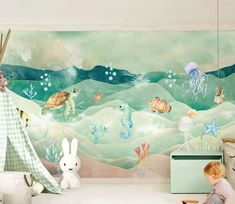 Sea Turtle Wallpaper, Wallpaper Wall, Paper Wallpaper, Kids Wallpaper, Self Adhesive Wallpaper, Custom Wallpaper, Chinoiserie, Ocean Nursery, Animal Nursery