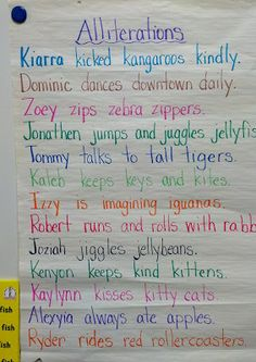 Great alliterations activity to do with kids' names