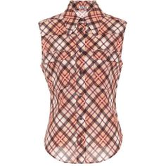 Miu Miu Plaid Sleeveless Cotton Shirt (48.120 RUB) ❤ liked on Polyvore featuring tops, multicoloured, multi colored plaid shirt, red top, plaid top, cotton shirts and cotton sleeveless tops