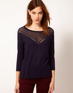 Warehouse Pretty Pointelle Jumper purple sweater with mesh neck Latest Fashion Clothes, Latest Fashion Trends, Plus Size Chic, Purple Sweater, Asos Online Shopping, Plus Size Women, Knitwear, Style Me, Jumper
