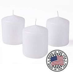 "Higlow Dripless Pillar Candles Unscented Elegant Brides Wedding Decoration Centerpieces, Parties, Gifts, 3"" L x 3"" H X 4"" W, White, Set of 3 -- Additional details @"
