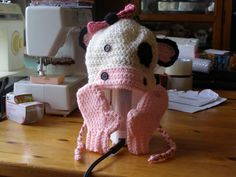 Girl Cow Crochet Earflaps Hat and Mittens Set by HomespunByDesign, $8.00