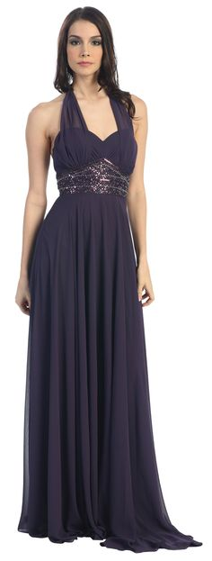 Chiffon Halter Plum Dress Formal Sequins Sweetheart Neck Open Back. Would be perfect without the sequins Plum Dresses, Halter Dresses, Bridesmaid Dresses, Wedding Dresses, Full Length Gowns, Dress Formal, Beautiful Dresses, Chiffon, Sequins