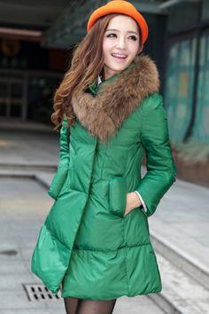 Faux Fur Collar Down Coat OASAP.com
