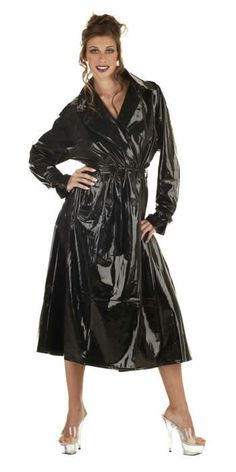 Ladies black pvc trench coat