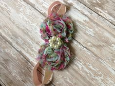 Double floral shabby headband. $6.00