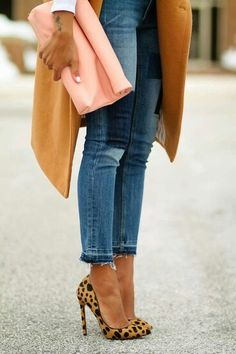 Pairing distressed denim with a leopard ultra high heel is one of my favorite looks - this camel coat and peach bag polish the look