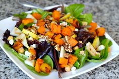 Baby romain, sauteed butternut squash, walnuts, dried cranberries, goat cheese, pears, chick peas and a maple dijon balsamic vinaigrette