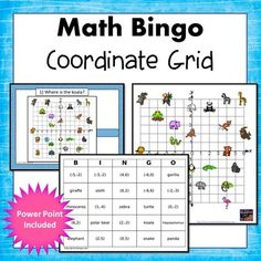 4 quadrant coordinate grid bingo. Students will find animals on the coordinate grid and they will name coordinate pairs for the animals. Included in this set:30 unique bingo cards,50 question cards with answers, A full page grid with color pictures.A ppt file -Simone's math Resources.
