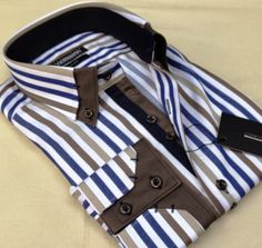 Shirt Up! Menswear Brown striped business Mens shirt SLIM FIT