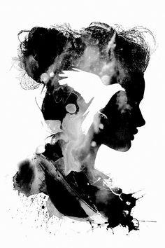 Freiheit im Gehirn - Never let life kill your spark. Art Sketches, Art Drawings, Photo D Art, Silhouette Art, Moon Art, Anime Art Girl, Abstract Wall Art, Anime Comics, Double Exposure
