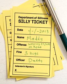Use these printable citations from the Department of Silliness to keep those kids out of silly jail.