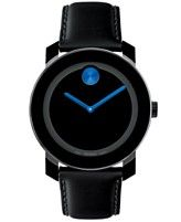 Movado Swiss Bold Large Blue Accent Black Leather Strap Watch 42mm 3600015