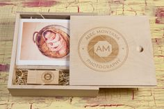 Gorgeous engraved wooden slide box and stick #logos #photography #presentation