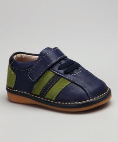 Take a look at this Squeaky Feet by Little Green Trike Blue Stripe Patrick Squeaker Shoe on zulily today!