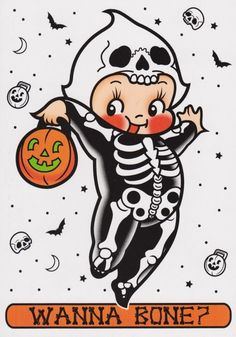 Send someone our deceptively sweet greeting card. this skeleton kewpie is sure to bring a grin to their face. Our cards measure x come with an envelope and are blank inside. Cute Halloween, Holidays Halloween, Vintage Halloween, Halloween Crafts, My Funny Valentine, Valentines, Doll Drawing, Doll Tattoo, Flash Art