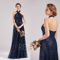 Party Dress Navy Sequin Bridesmaid Dress Halter Prom Dress Long Sexy Open Back Wedding Dress Glitter A-line Sequin Evening Dress Halter Prom Dresses Long, Sequin Evening Dresses, Sequin Bridesmaid Dresses, Sequin Dress, I Dress, Party Dress, Wedding Dresses, Dress Long, Open Back Wedding Dress