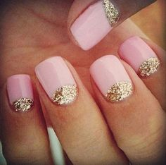 baby pink nails with sparky gold crescent.