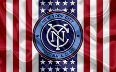 Download wallpapers New York City FC, 4k, logo, silk texture, American flag, emblem, football club, MLS, New York, USA, Major League Soccer, Eastern conference