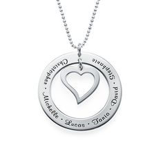 With a hanging heart in the center and names around the edge, this pendant necklace is truly special.