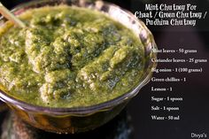 Mint Chutney For Chaat / Green Chutney / Pudhina Chutney - Ingredients