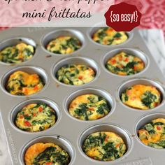 Mini Frittatas with Spinach and Red Pepper Recipe Breakfast and Brunch with olive oil, red bell pepper, yellow onion, spinach, eggs, egg whites, skim milk, shredded sharp cheddar cheese, salt, pepper