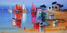 Eric Le Pape, artiste peintre de Bretagne | Eric Le Pape, Pen And Wash, Pen And Watercolor, Expositions, French Artists, Oeuvre D'art, Les Oeuvres, Light Colors, Boats