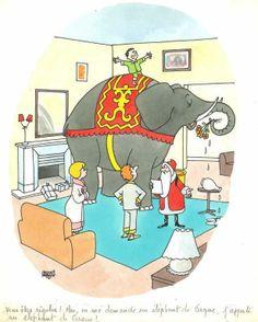 """Jacques Faizant - """" Vous êtes rigolos ! Moi, on me demande un éléphant de cirque, j'apporte un éléphant de cirque !"""". Dessin en couleurs à l'encre et aquarelle sur papier, signé en bas à gauche. Haut. : 25 cm ; Larg. : 19 cm. Sur feuille : Haut. : 32,5 cm ; Larg. : 24,5 cm. Mentions La vie catholique datée du 28 Octobre 1969 et Jours de France, du 28 Décembre 1969 au dos.  Réf. : 2650 - 104  Estimation : 400 € - 500 €"""