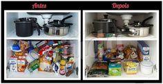 Os alimentos devem ser organizados pela data de validade, para que os que vencem primeiro sejam consumidos primeiro. #donaajuda #organizacao #chegadebagunca #cozinha #alimentos #antesedepois