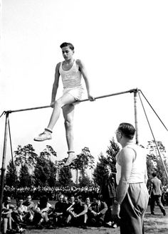 Berlin, Germany, 1935, Gymnastics at a sports event for Jewish schools.  The management of Berlin Jewish community schools initiated the event. It was the first sports event for Jewish schools in Berlin. 12 Berlin schools (public and private) participated in the event that was held at the Gruenewald sports ground.