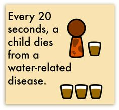 please know that YOU can help in this cause.  THIS IS ENTIRELY PREVENTABLE!! Check out Water.org, Charity Water, and Living Water International to see how just FIVE DOLLARS can make a difference! ANY amount helps towards saving a child from dying of a water related disease.    Every 20 Seconds...