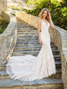 Moonlight Couture H1361b Por All Lace Mermaid Wedding Dress With Spaghetti Straps Bride