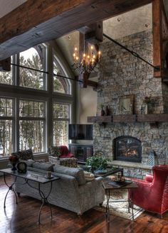15 Warm Rustic Family Room Designs For The Winter. 15 Warm Rustic Family Room Designs For The Winter. Design Living Room, Family Room Design, Cozy Living Rooms, Stone Wall Living Room, Living Area, Glamour Living Room, Living Walls, Living Room Windows, Cottage Living