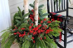 Outdoor Christmas Planters, Christmas Urns, Christmas Greenery, Christmas Arrangements, Outdoor Pots, Floral Arrangements, Christmas Ideas, Christmas Stuff, Outdoor Ideas
