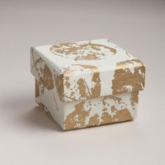 Small Cream with Gold Leaf Handmade Gift Box