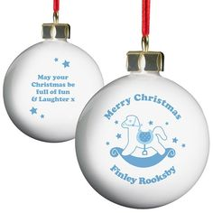 Personalised Blue Rocking Horse Bauble  from Personalised Gifts Shop - ONLY £10.99