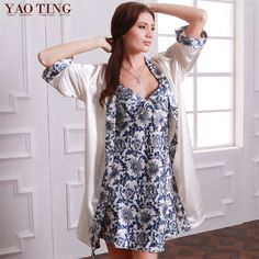 2 pec /set Summer Women Robe&Gown Sets Thin Section Faux Silk Indoor Clothes Blue And White Porcelain Two-piece Gown Sets