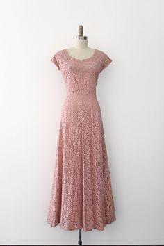 robe vintage des années 1940 / / 40 s rose par TrunkofDresses