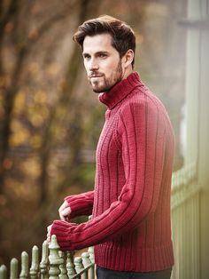 e4fced20f15f9 Thornton - Knit this mens ribbed sweater from Easy Aran Knits