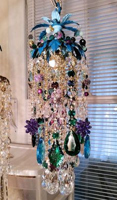 Boho Peacock Petite Crystal Chandelier Pendant by sheriscrystals
