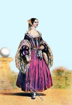 Venetian renaissance costume in 15th century. Medieval noblewoman