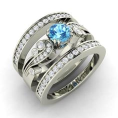 Round Blue Topaz  and I Diamond Bridal Set Engagement Ring in Sterling Silver