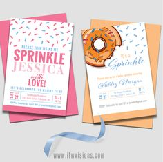 SUPER CUTE baby shower and baby sprinkle invitations...with sprinkles...and donuts... OMG... I can't even stand the cuteness of these invitations! Donut mess around... order your invitations ... we will customize the details for you... print... and deliver to you! Prints typically ship within 2-3 business days of proof approval. baby, baby registry, baby gift, baby shower idea, baby shower ideas, baby shower stationery, baby shower games, baby shower fun, baby sprinkle, baby sprinkles