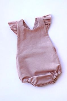 Dusty Pink Linen Blend Baby Romper Linen Toddler Romper