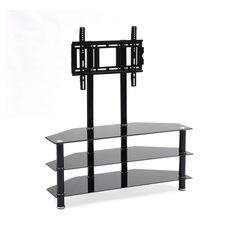 3 Shelf Glass Tv Stand With Mount.Techlink Strata Inch Corner TV Stand With . Floating Wall Mounted Shelf Bracket Stand For AV Receiver . Home and furniture ideas is here Black Tv Stand, Rack Tv, Tv Stand With Mount, Tv Shelf, Av Receiver, Tempered Glass Shelves, Shopping, Yurts, Home